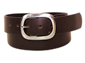 38mm Belt with Oval Double Buckle on Plain Leather