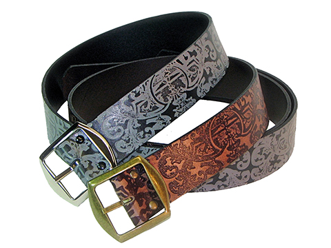 45mm Belt with Double  Buckle on Embossed Leather