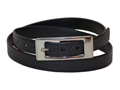 20mm Belt with Double Nickel Buckle and Embossed Leather