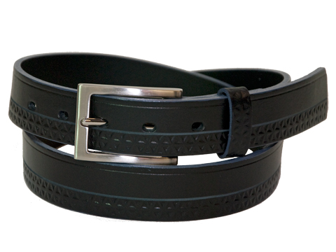 30mm Belt with Brushed Nickel Buckle and Leather Keeper on Decorated Leather