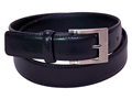 34mm Featheredge Belt with Brushed Nickel Buckle and Leather Keeper