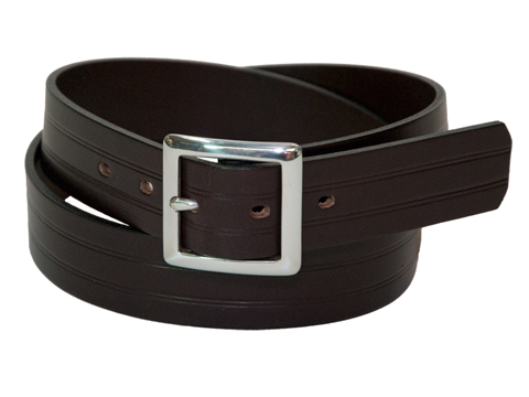 34mm Belt with Silver Double Buckle with Scribe Lines